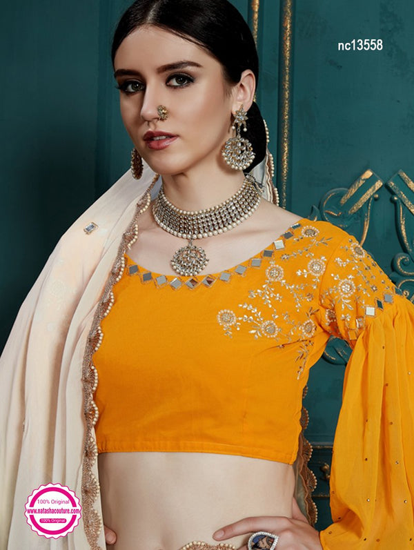 Off White & Yellow Georgette Lehenga Choli NC13558
