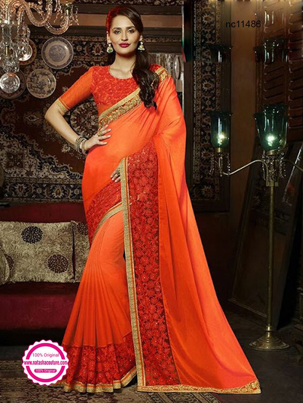 Orange Chiffon Silk & Semi Georgette Saree NC11486