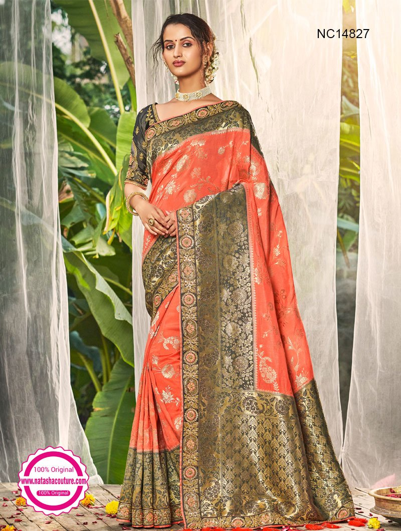 Orange & Grey Silk Saree NC14827