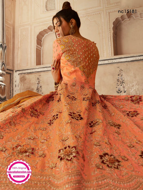 Orange Net & Silk Anarkali Lehenga NC15181