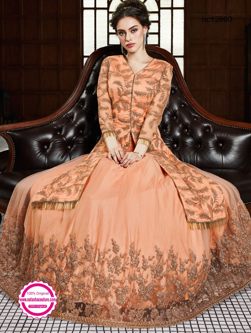 Orange Net Lehenga & Long Top NC12860B