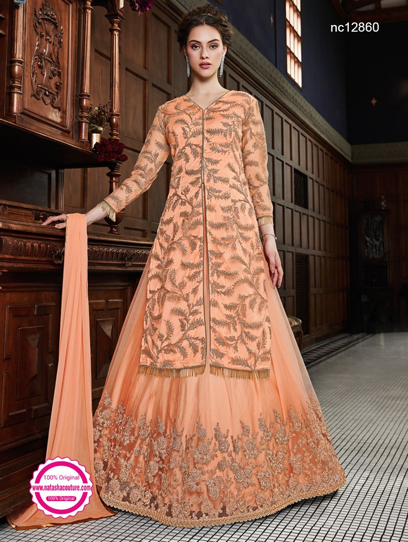 Orange Net Lehenga & Pant Style Suit NC12860B