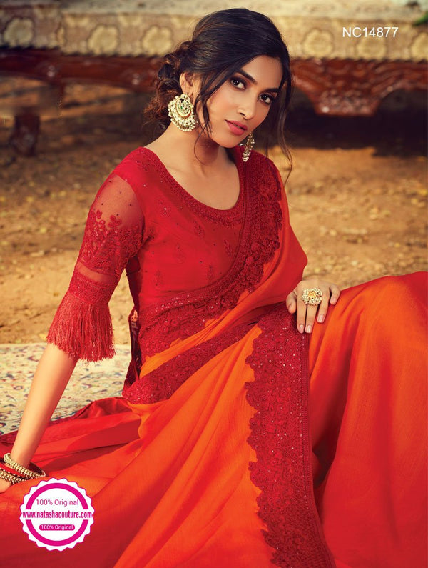 Orange & Red Shaded Silk Saree NC14877
