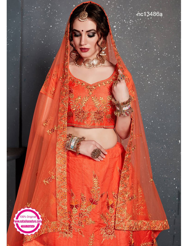 Orange Silk Lehenga Choli NC13486A