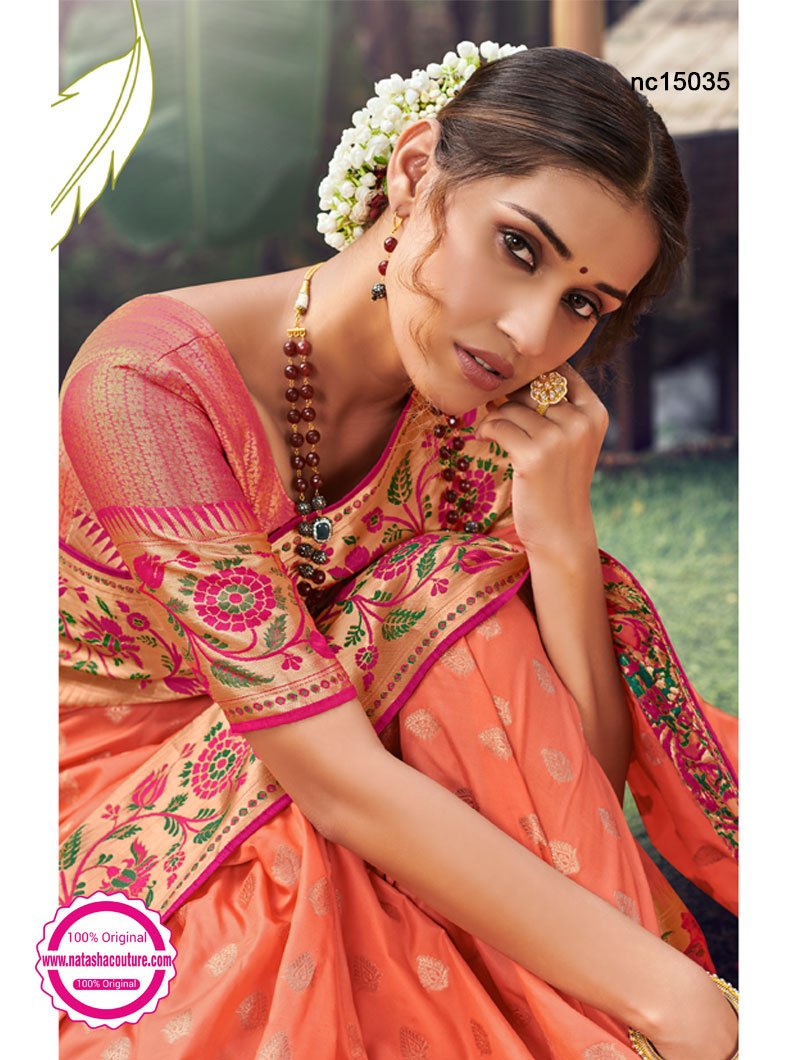 Orange Silk Saree NC15035