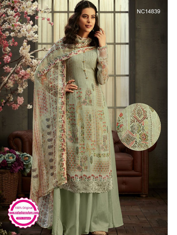 Pale Green Georgette Palazzo Suit NC14839