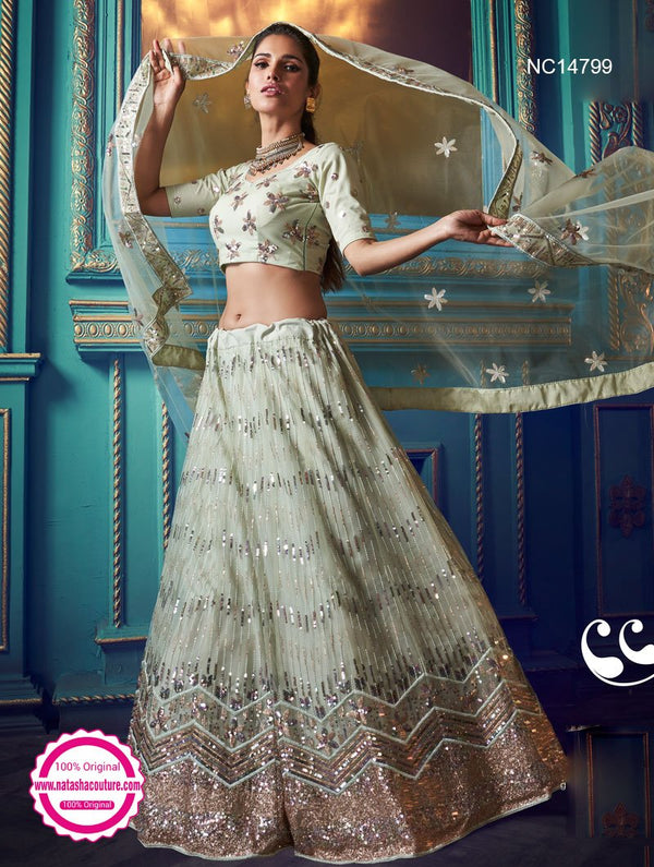 Pale Green Net Sequins Lehenga Choli NC14802