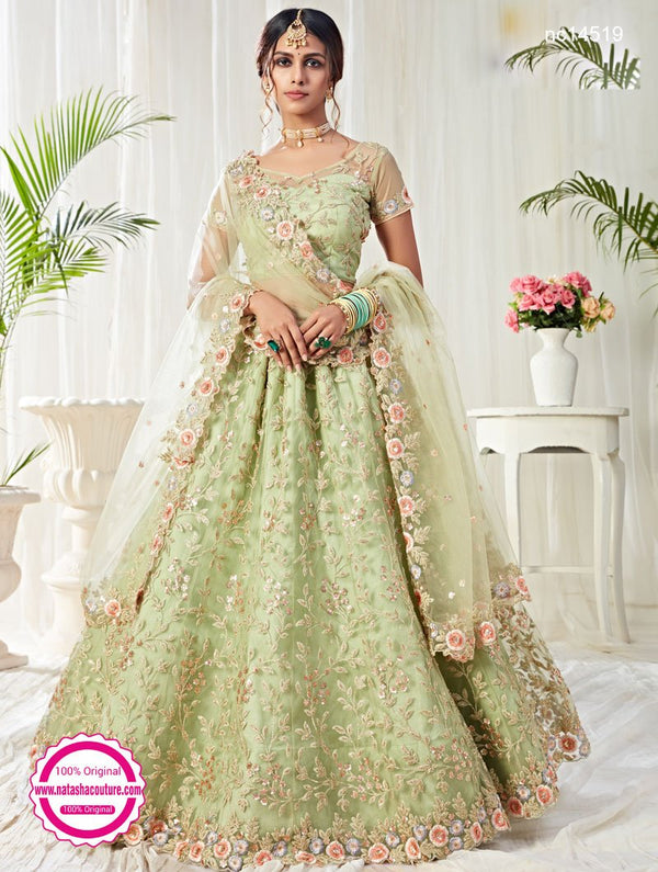 Pastel Green Net & Silk Bridal Lehenga Choli NC14519