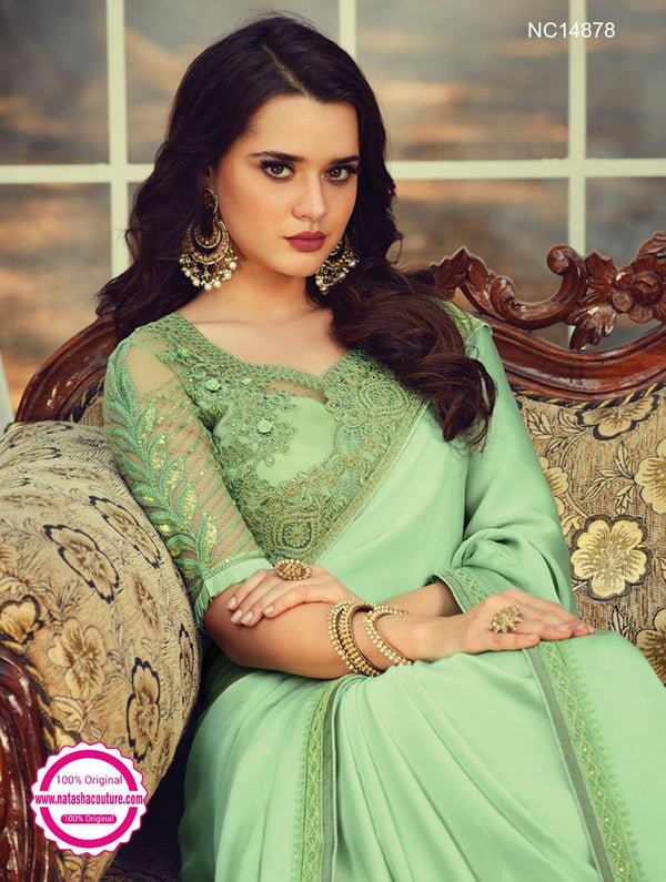 Pastel Green Silk Saree NC14878