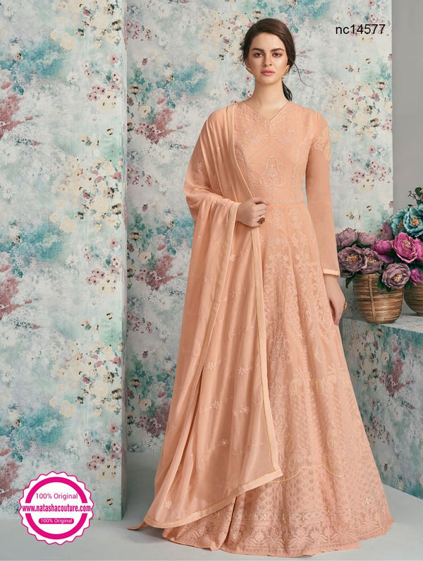 Peach Georgette Anarkali Suit NC14577