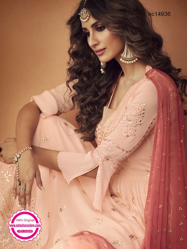 Peach Georgette Palazzo Suit NC14936