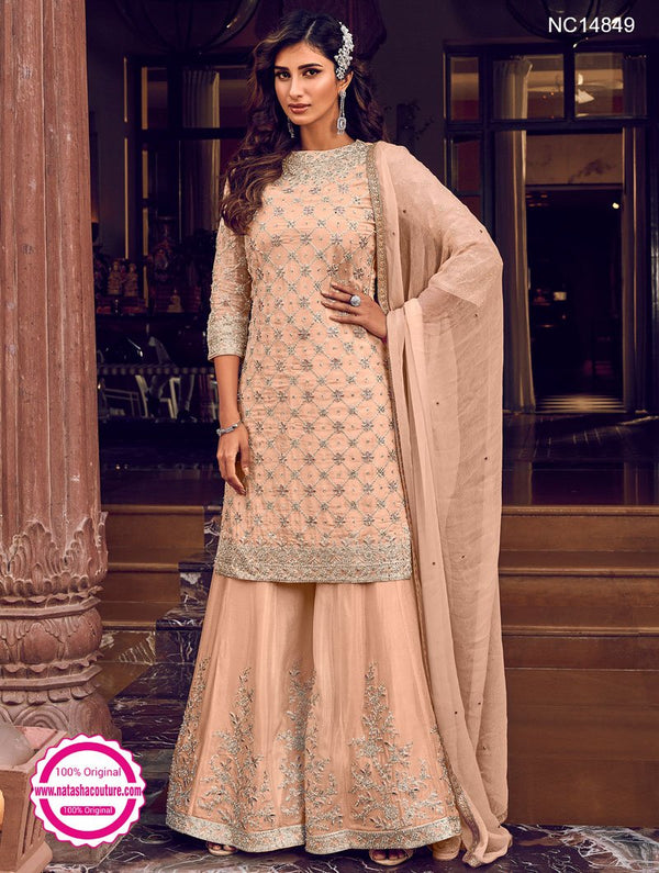 Peach Georgette Sharara Pants Suit NC14849
