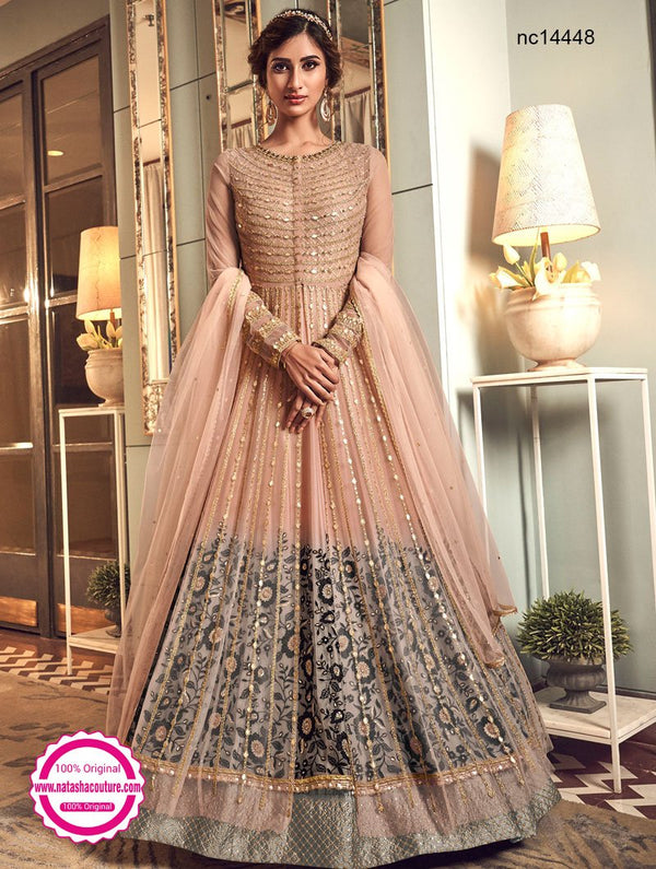 Peach & Grey Shaded Net Jacket Style Anarkali Suit NC14448
