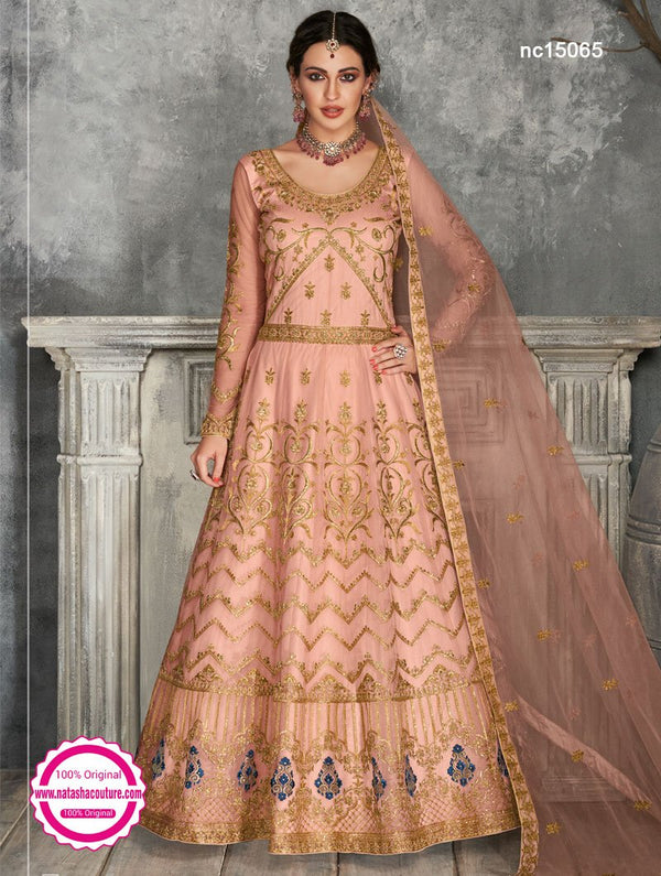 Peach Net Anarkali Suit NC15065