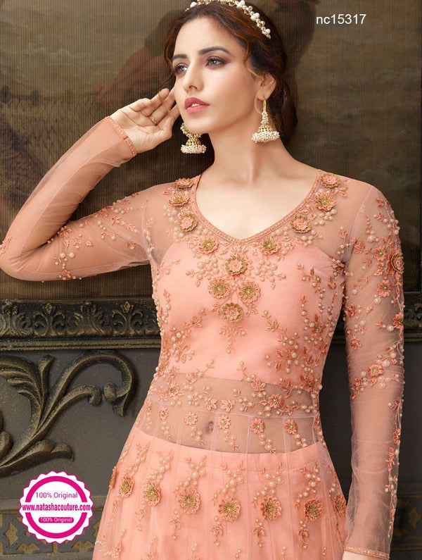 Peach Net & Silk Anarkali Lehenga NC15317