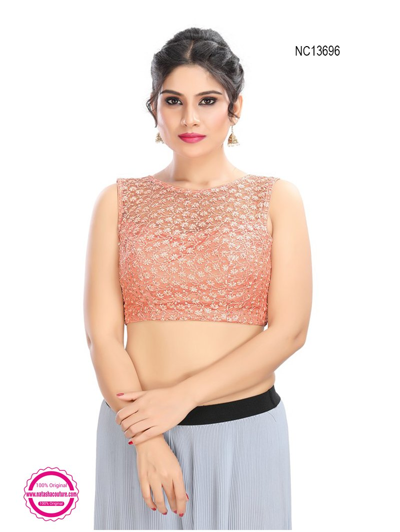 Peach Net Embroidered Readymade Blouse NC13696