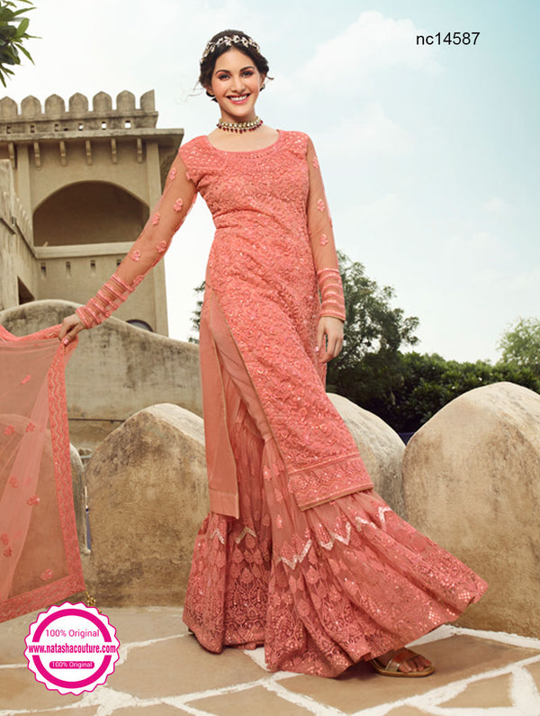 Peach Net Sharara Pants Suit NC14587
