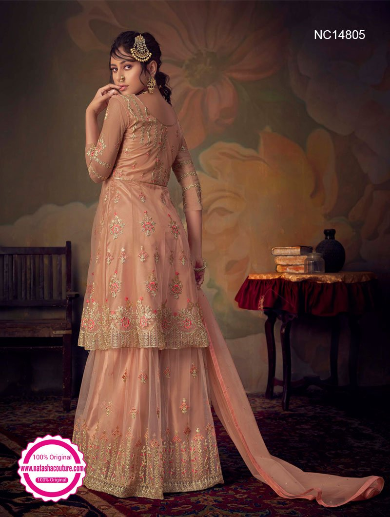 Peach Net Sharara Pants Suit NC14805