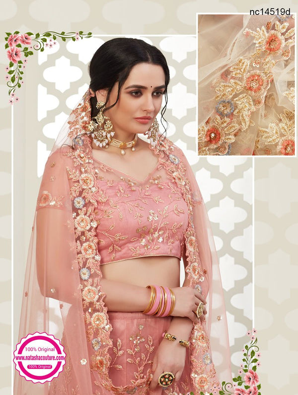 Peach Net & Silk Bridal Lehenga Choli NC14519D