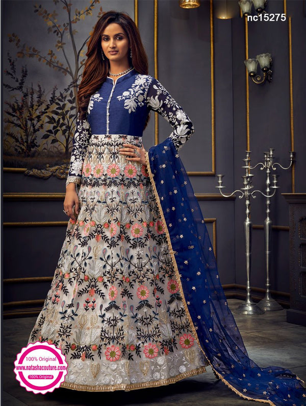 White & Blue Net Anarkali Suit NC15275