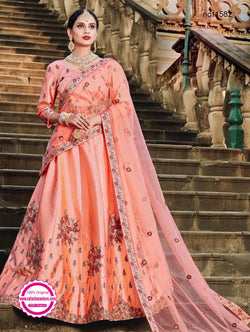 Peach Pure Satin Lehenga Choli NC11582