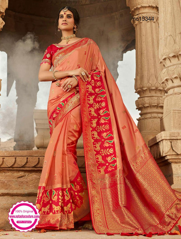 Peach & Red Silk Saree NC15344