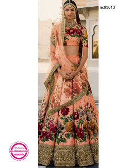 Peach Silk Floral Bollywood Lehenga Choli NC9301D