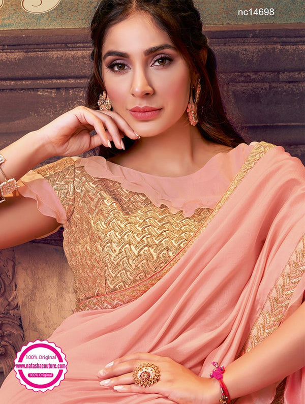 Peach Silk Georgette & Net Half & Half Saree NC14698