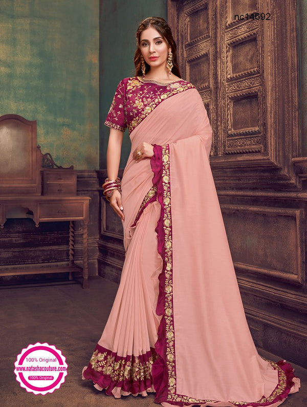 Peach Silk Georgette Saree NC14692