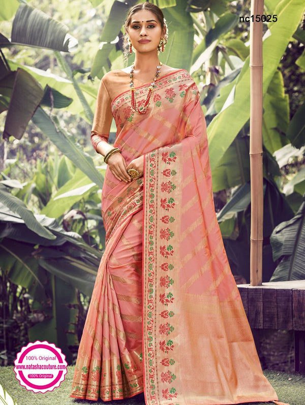 Peach Silk Saree NC15025