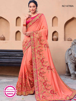 Peach Silk Satin Saree NC14789A
