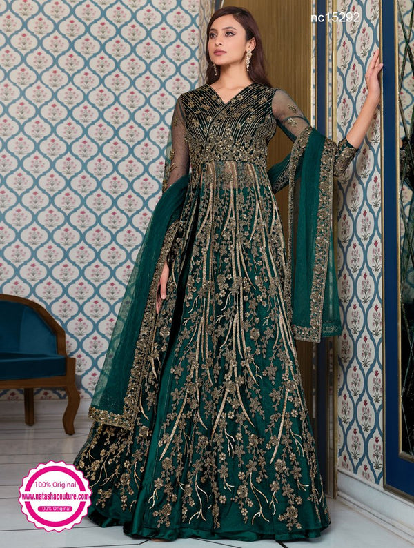 Peacock Green Net Anarkali Lehenga NC15292