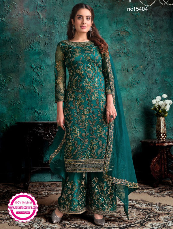 Peacock Green Net Pant Style Suit NC15404