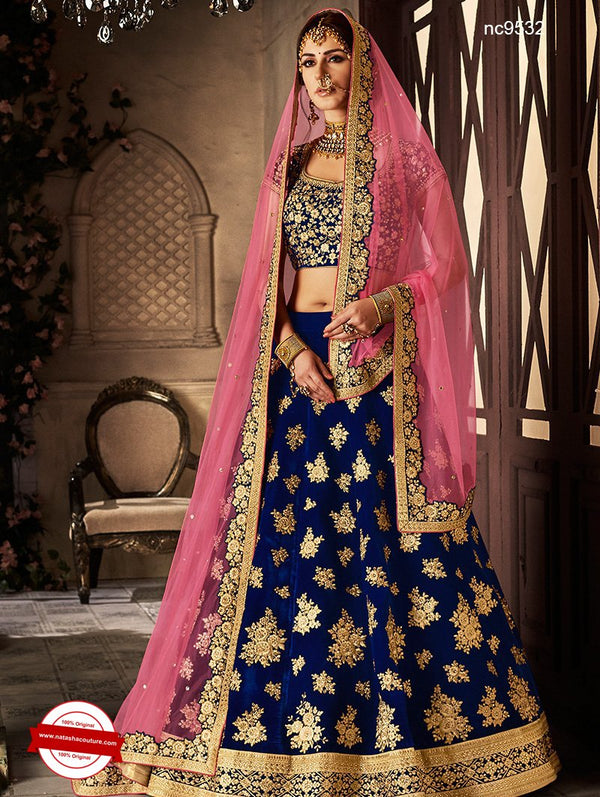 Pink & Blue Silk Embroidered Lehenga Choli NC9532
