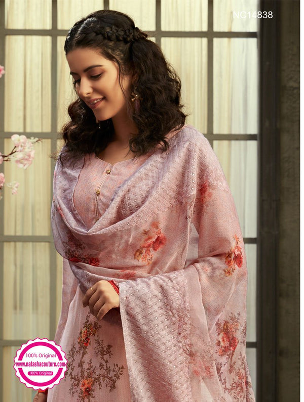 Pink Georgette Palazzo Suit NC14838