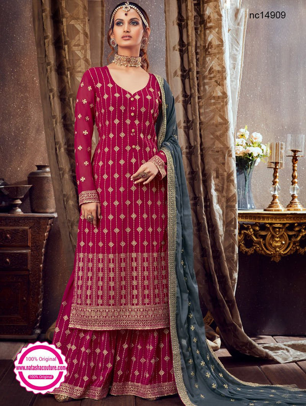 Pink Georgette Palazzo Suit NC14909