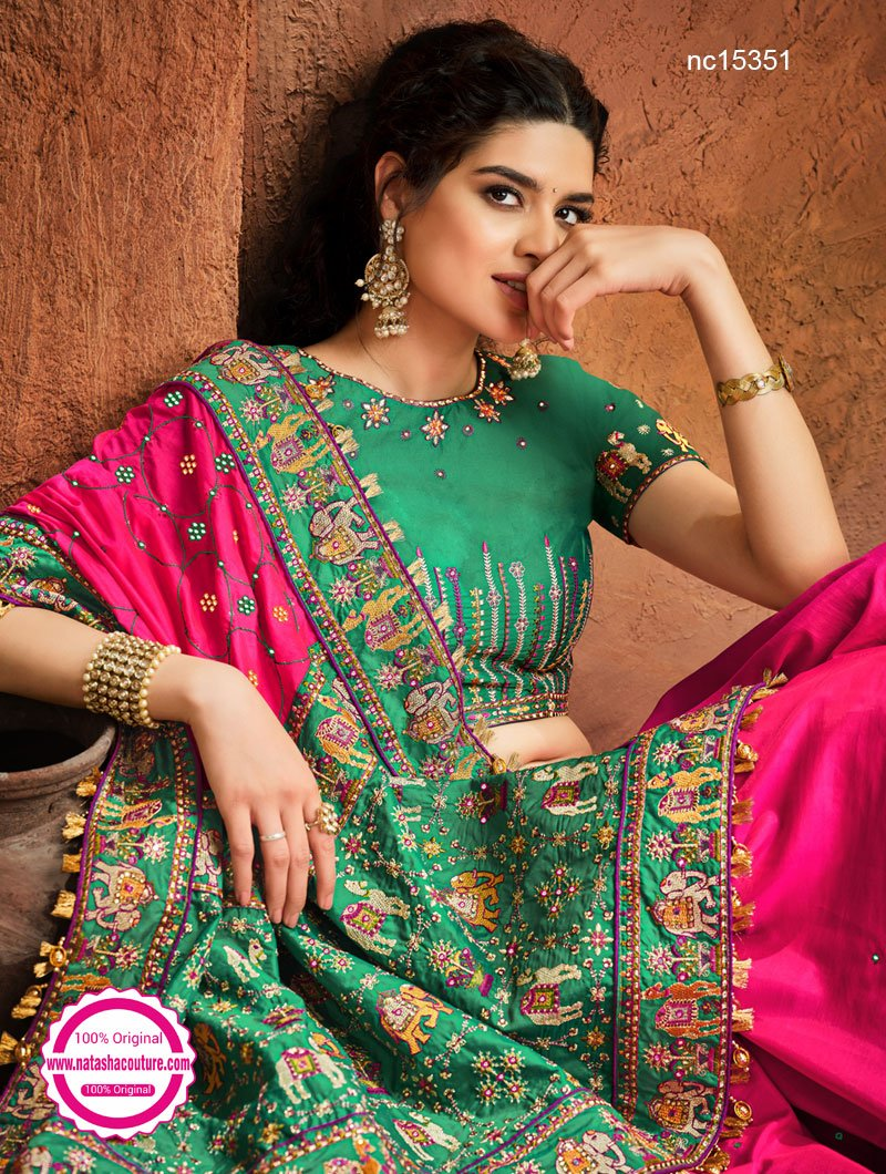Pink & Green Satin Saree NC15351