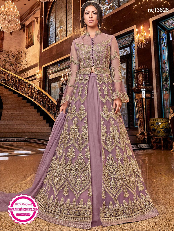 Pink Net Lehenga & Pant Style Suit NC13826A