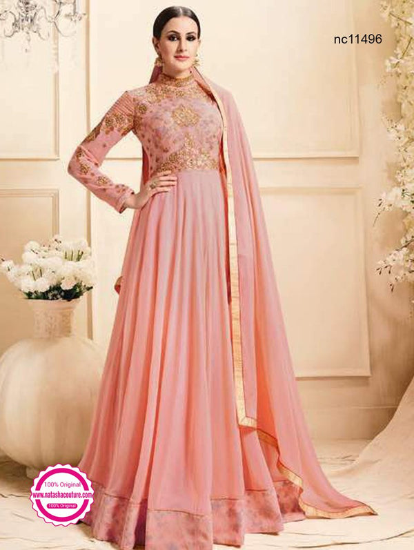 Pink Pure Georgette Anarkali Suit NC11496