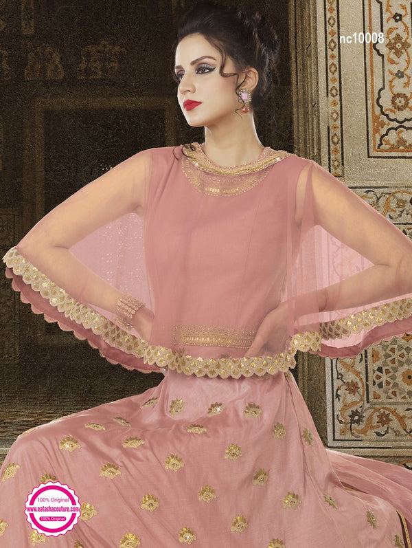 Pink Satin Cape Style Anarkali Suit NC10008