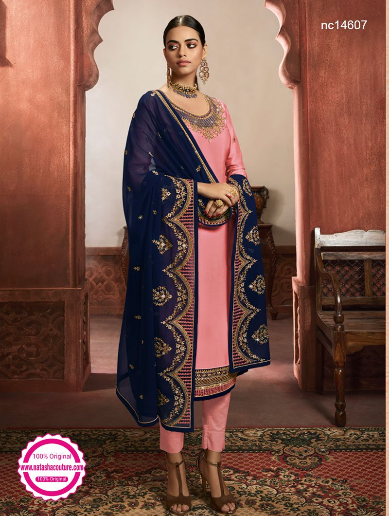 Pink Satin & Georgette Lehenga & Pant Style Suit NC14607A