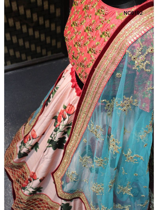 Pink Silk Floral Bollywood Lehenga Choli NC6192