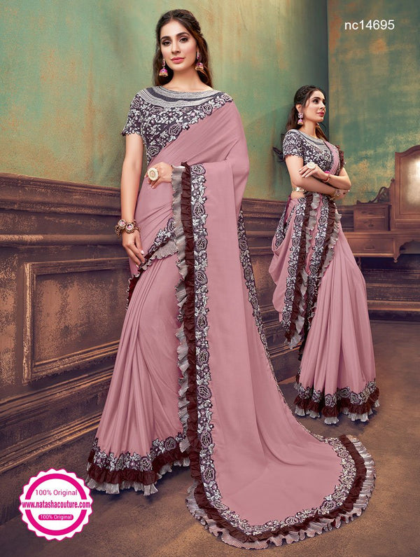 Pink Silk Georgette Saree NC14695