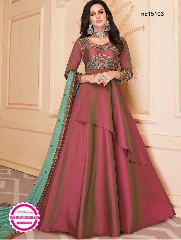 Pink Two Tone Silk Anarkali Suit NC15103