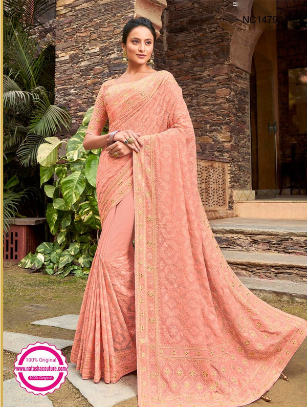 Pinkish Peach Georgette Saree NC14790