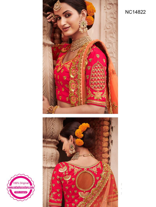 Pinkish Red Silk Bridal Lehenga Choli NC14822