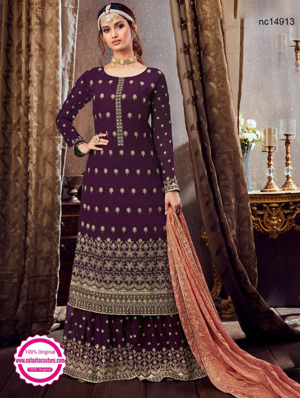 Purple Georgette Palazzo Suit NC14913