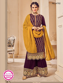 Purple Georgette Sharara Pants Suit NC14782