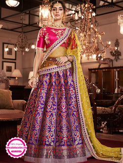 Purple & Pink Jacquard Silk & Handloom Silk Lehenga Choli NC13940