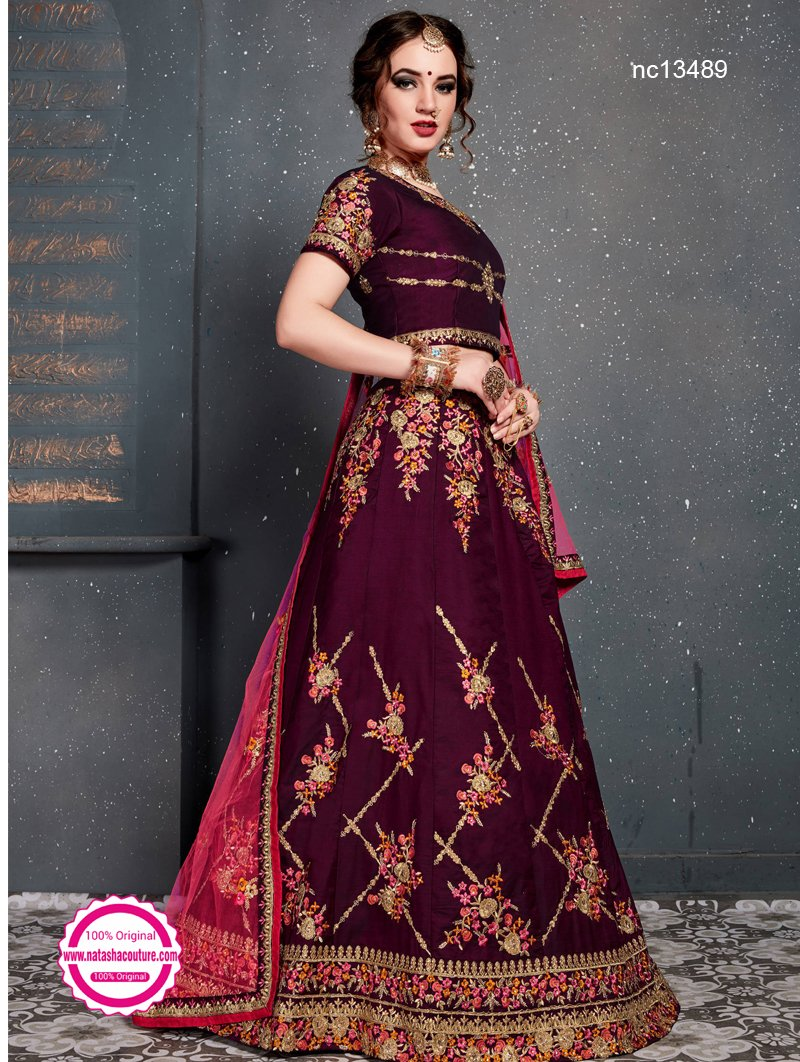 Purple Satin Silk Lehenga Choli NC13489